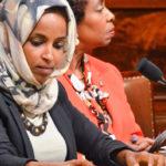 Closeup of U.S. Representative Ilhan Omar.