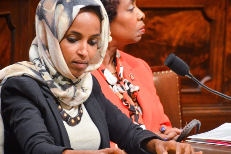 Closeup of U.S. Representative Ilhan Omar.