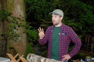 Forestry expert Patrick Shults leads an outdoor workshop.