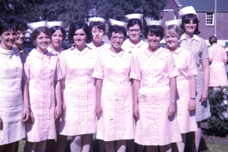 Nursing students posing for a group photo.