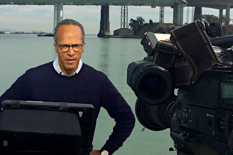 Lester Holt reporting from the scene of a news story.
