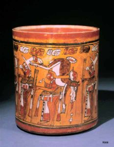 Classic Mayan polychrome vessel depicting a deer hunt.