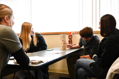 Students play boardgames