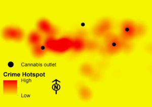 A heat map concept showing hypothetical cannabis outlets with hypothetical crime rates indicated by color intensity.