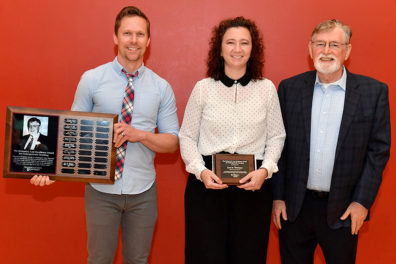 2019 Law Award recipient Kara M. Whitman with (l.) Clif Stratton, UCORE director, and retiree Dick Law, award namesake and long-time General Education director.