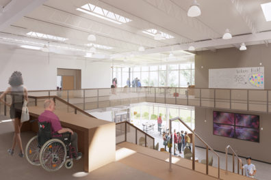 Rendering of the interior of a new building at WSU Tri-Cities.