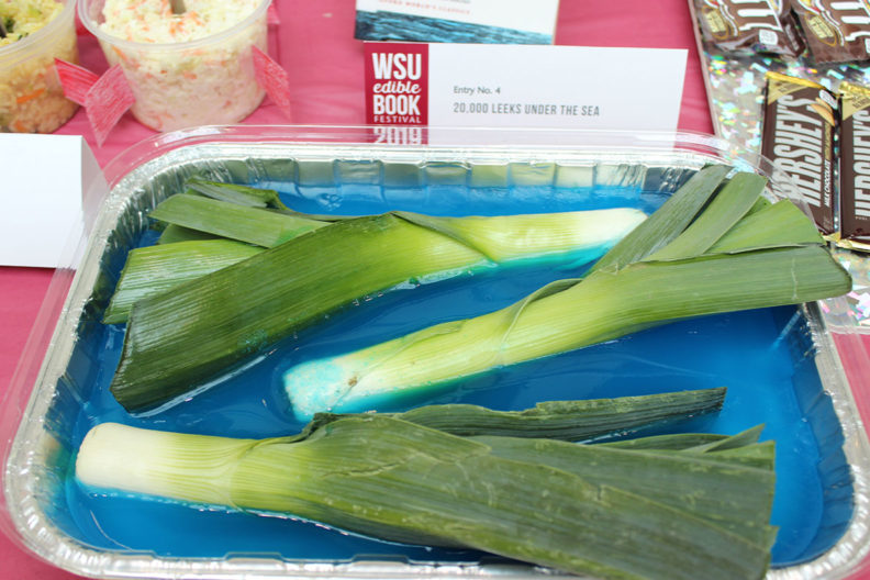 "The 2019 Edible Book Festival's Punniest Award went to ""20,000 Leeks Under the Sea,"" submitted by Sarah Bertapelle."