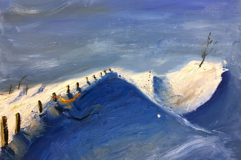 Student Christina Sagrelius's oil on canvas painting makes use of Prussian blue pigments created in a lab of Smith grant awardees Joe Hedges and Amy Nielsen.