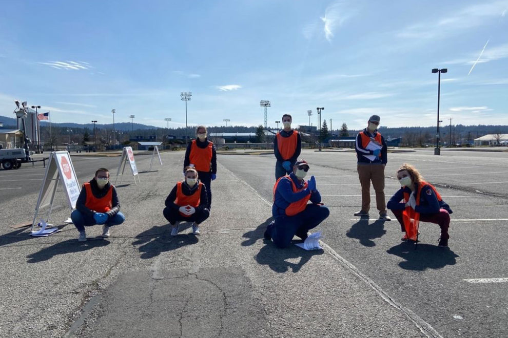 Students from several universities and healthcare professionals volunteered at the drive-through COVID-19 testing facility at the Spokane Interstate Fairgrounds.