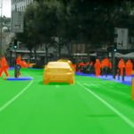 A still from a YouTube video on road scene segmentation.