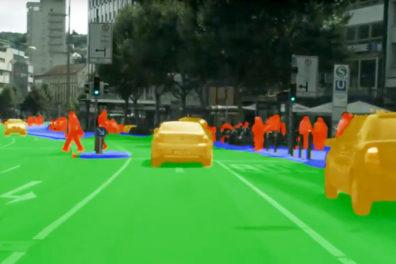 A still from a YouTube video on road scene segmentation.