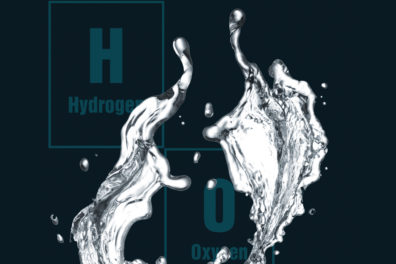 Illustration depicting the separation of Hydrogen and Oxygen from water.