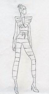 Early fashion sketch by AMDT senior Sara Liddy.