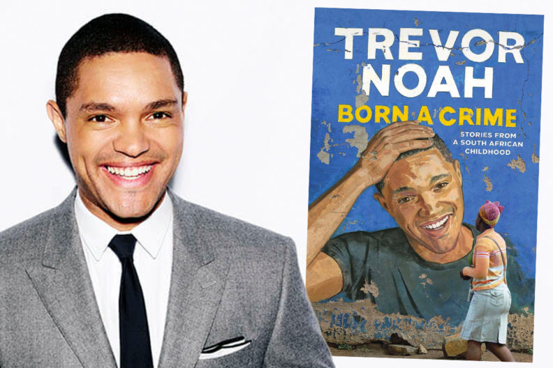 Closeup of Trevor Noah and his new book, 'Born a Crime.'