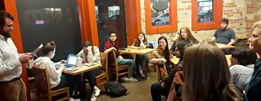 Crowd gathered at Café Moro for Open Mic Night.