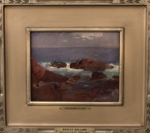 A painting of an ocean coastline.