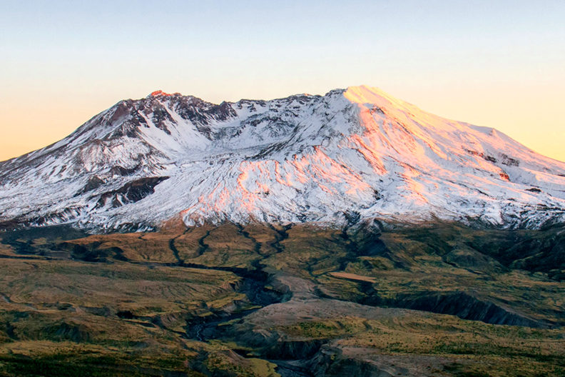 Mt.St. Helens at sunset.