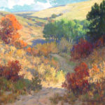 Painting of a country road meandering through hills.