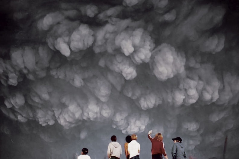 Students from a Seattle high school watch an ash cloud approach.