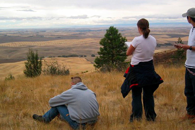 Students admire the view from atop Kamiak Butte.