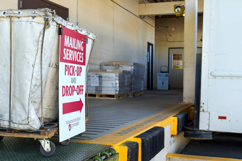 Loading dock next to Mailing Services.