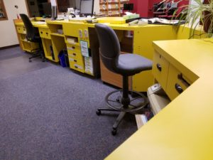 The Animal Health Library removed its familiar yellow circulation desk, opening up space for social distancing.