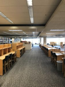 A vacant study area in Terrell Library.