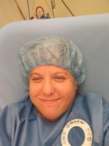 McKenzie prepares for a surgical procedure.