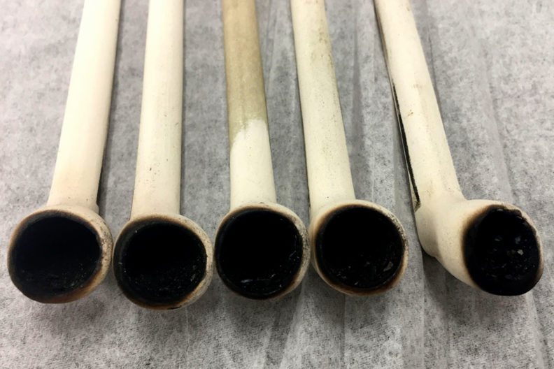 A row of pipes being used in a study.
