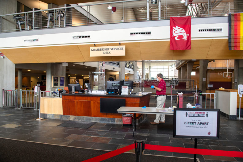 Interior entrance of the Student Recreation Center.