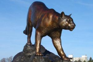 The Cougar Pride statue at the WSU Pullman campus.