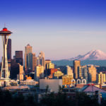 The Seattle skyline with Mt. Rainer in the background