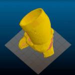 Digital rendering of a 3D printed aortic root model.