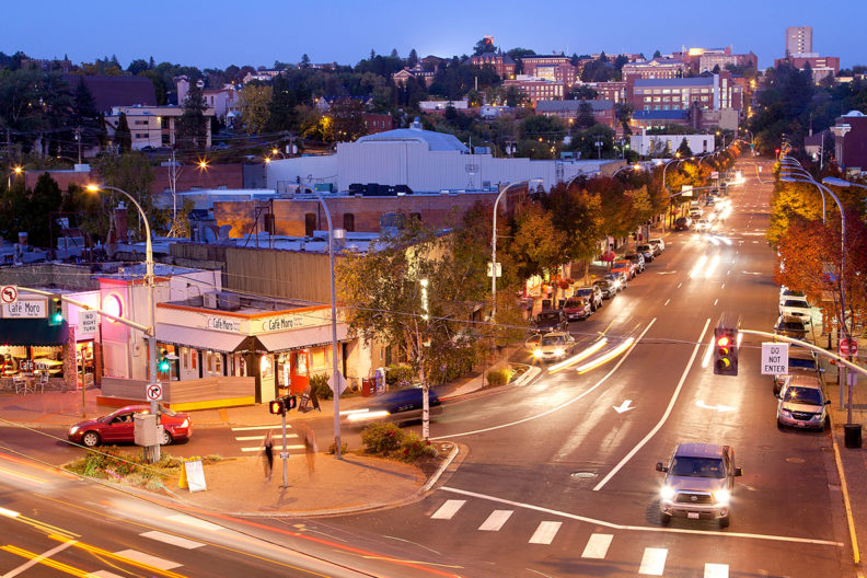 View of downtown Pullman and the WSU campus.