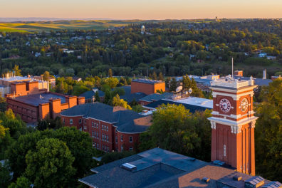 Aerial view of the WSU campus and Pullman in the background.