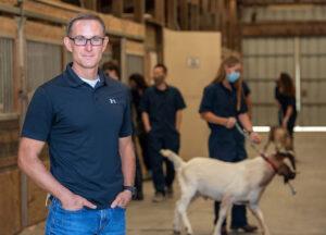 Jon Oatley at the WSU goat barn.