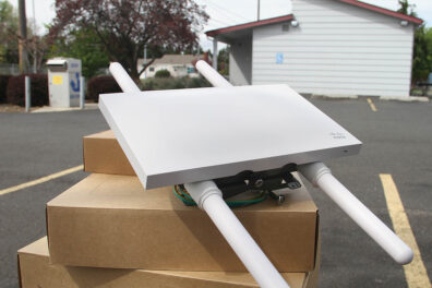 Closeup of a high-speed broadband router