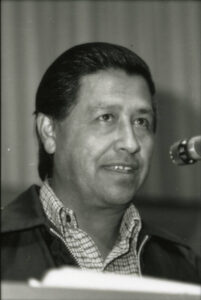 Cesar Chavez speaking at a farm workers rally in Yakima Valley in 1971.