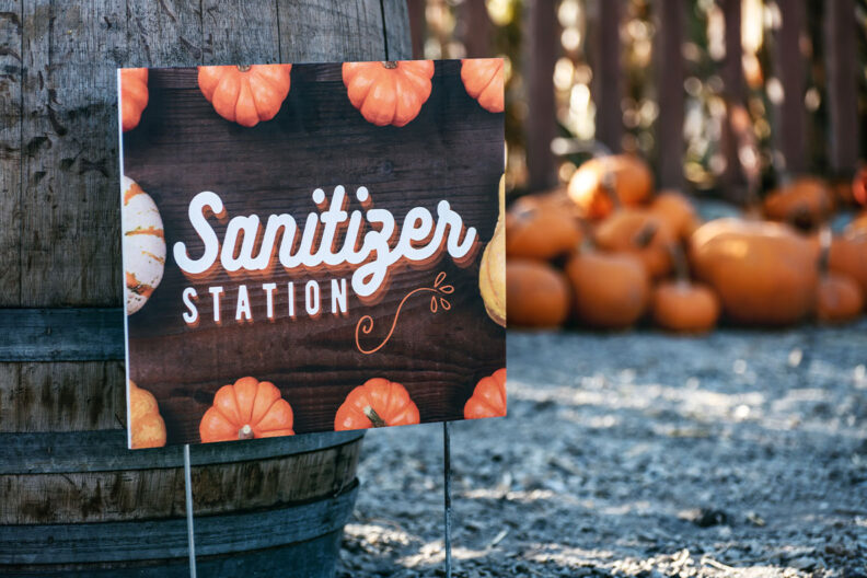 A 'sanitizer station' sign posted at a pumpkin patch.
