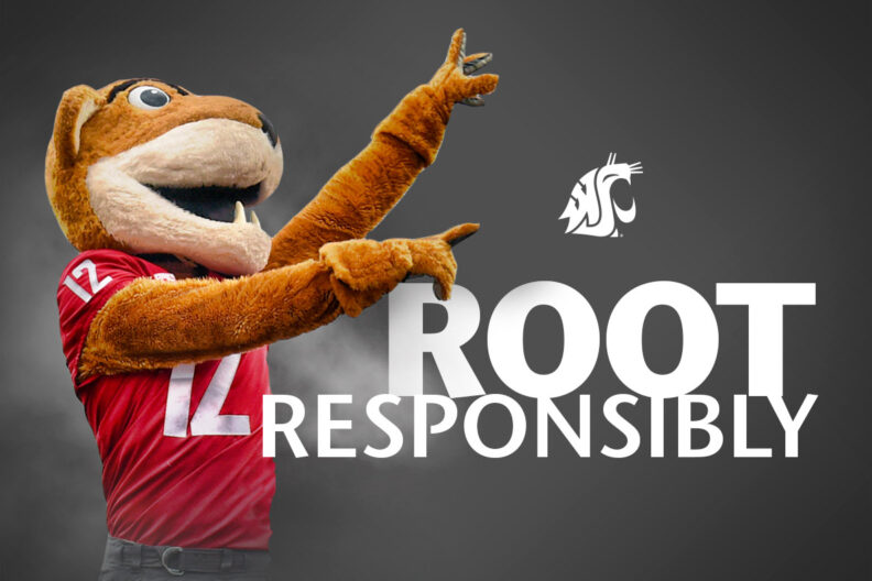 Butch T. Cougar encouraging fans to root responsibly.