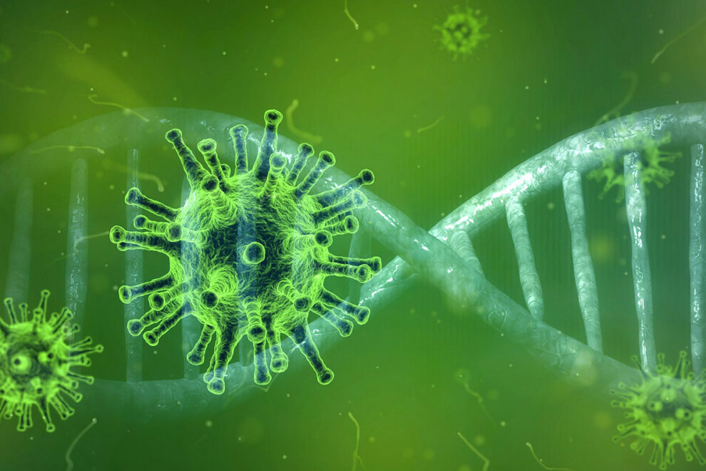 Illustration of coronavirus spike ball in front of double helix