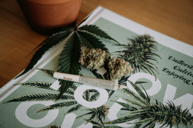 A marijuana joint rests on top of a marijuana magazine.
