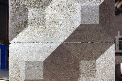Closeup of a drywall waste block.
