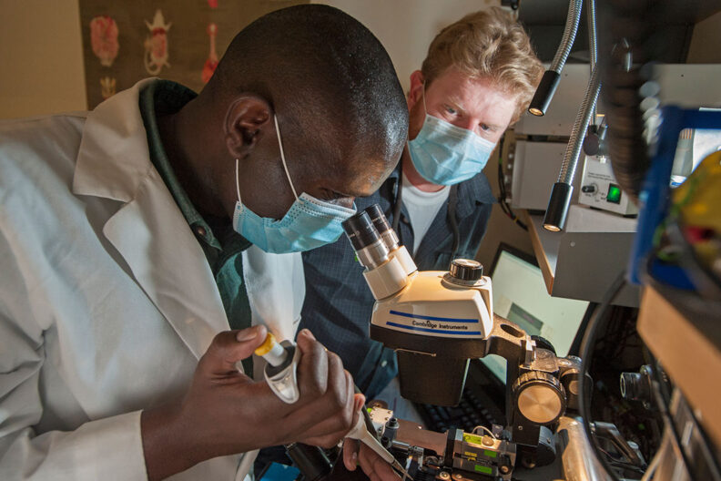 Two researchers look at a microscope