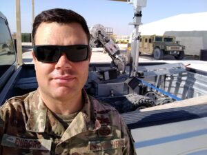 Closeup of Travis Finborg at Al Died Air Base.