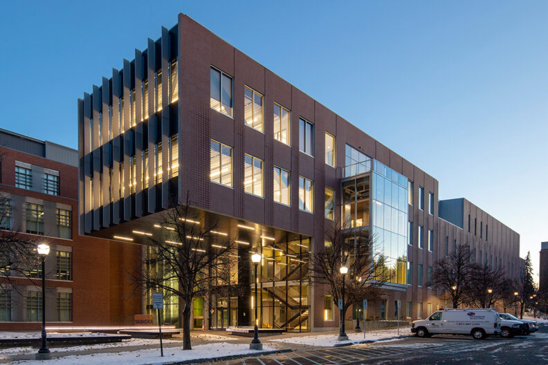 The exterior of WSU Pullman's new Plant Sciences Building.