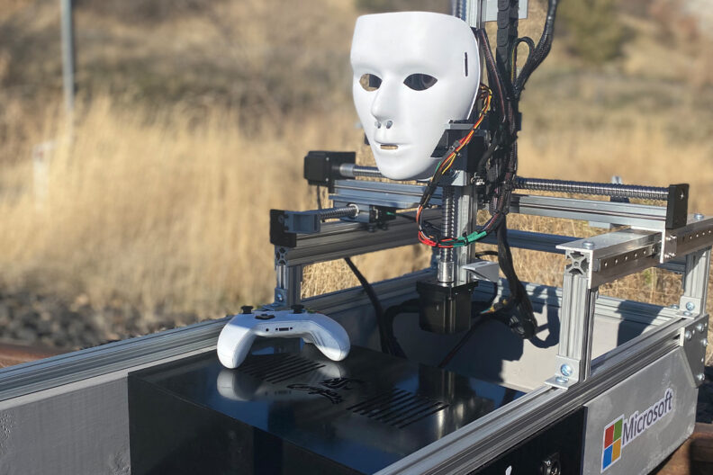 A robot used for testing eye tracking technology.