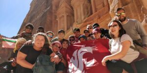 Students in front of ancient Petra