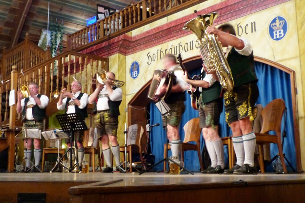 A band in traditional German dress playing at Oktoberfest.