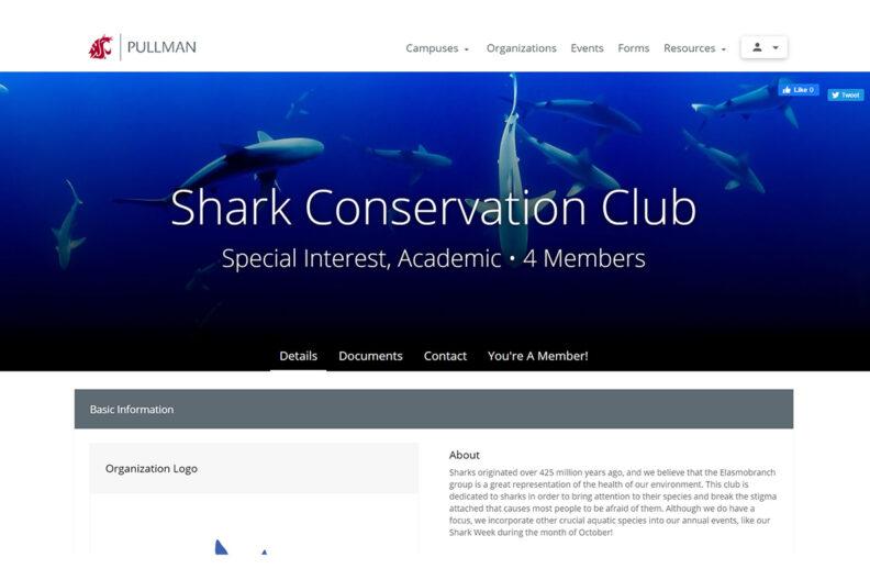 Screenshot of Shark Conversation Club's information on Coug Presence.